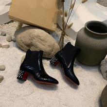 Зимние женские кожаные ботинки на низком каблуке; ботильоны «Челси» на плоской подошве; обувь на платформе