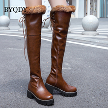 цена на BYQDY Plus Size 34-43 Sexy High Heels Over-the-Knee Boots Woman Platform Winter Lacing Woman's Shoes Fur Snow Boot Footwear