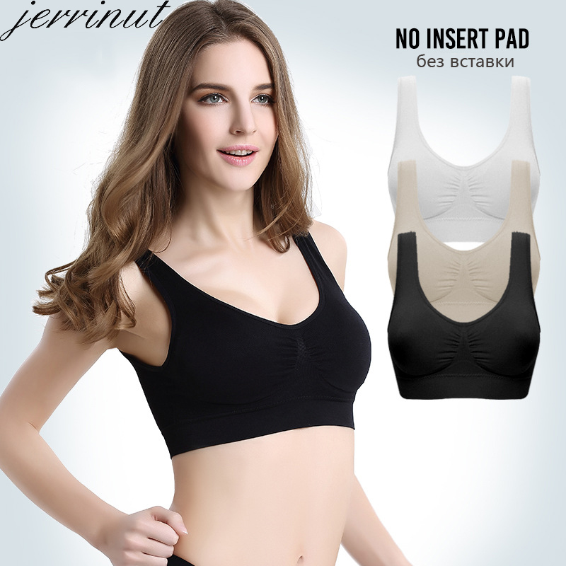 Jerrinut Bras For Women Seamless Bra No Pad Brassiere Bra Vest Wireless Active Bra Underwear Women Big Size Bralette Top Cotton