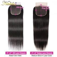 Tissage de cheveux brésiliens Remy Lace Closure – Nadula Hair, cheveux lisses, couleur naturelle, partie libre/centrale, HD, 10-20 pouces