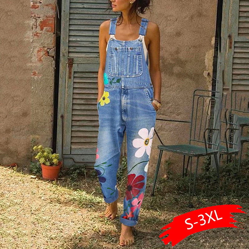 2020 New  Summer Jumpsuit Women Spring Long Denim Jeans Casual Floral Printed Pocket Jeans Romper Trendy Long