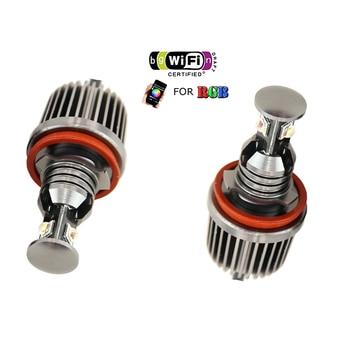 1 pair wifi rgb led marker h8 e92 angel eyes canbus phone controler for bmw X5 X6 E60 E82 E70 E71 E92 M3 F30 Halo ring