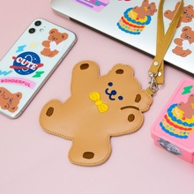 MINKYS New Arrival PU Leather Kawaii Bear Card Holder Credit ID Bank Card Bus Card Protective Case School Stationery