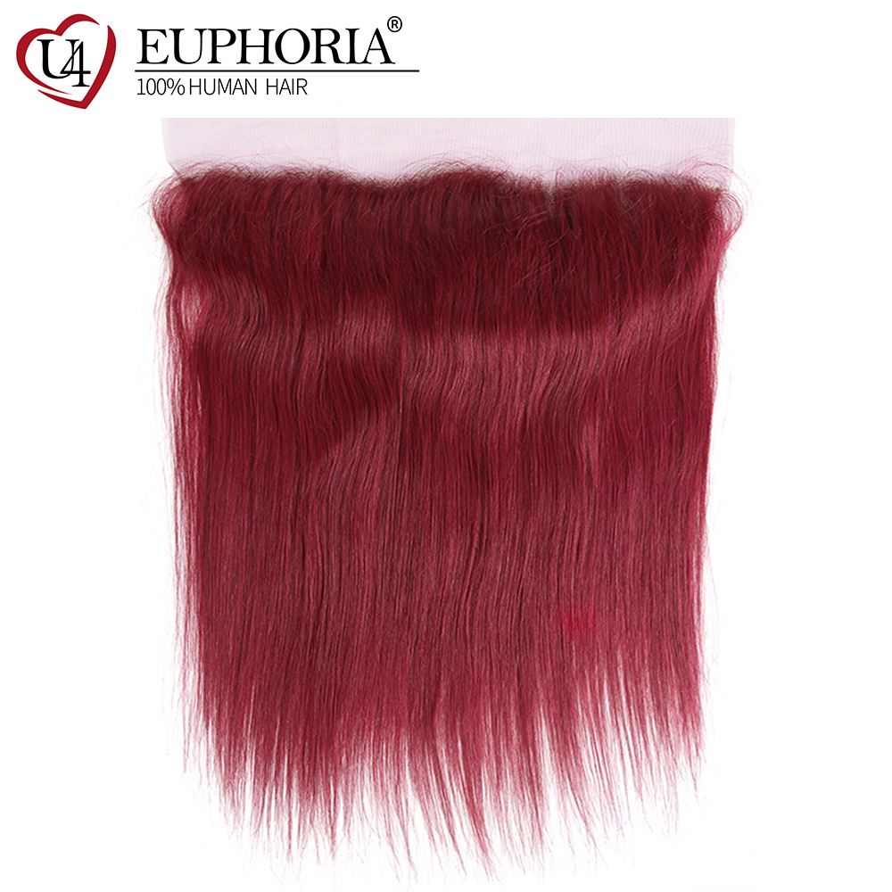 99J/Burgundy Red Color Straight Lace Frontal Ear To Ear Euphoria Brazilian Remy Human Hair Lace Closure With Baby Hair 8-20inch