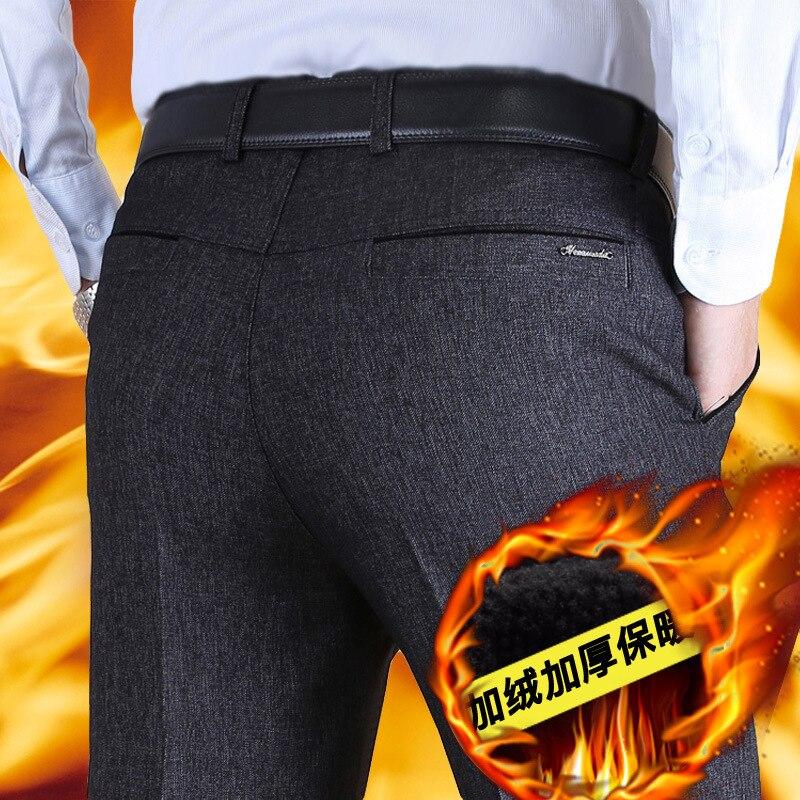 Middle-aged MEN'S Casual Pants Autumn And Winter Plus Velvet Thick Middle-aged Pants Men's Loose-Fit Winter Plus Velvet Suit Pan