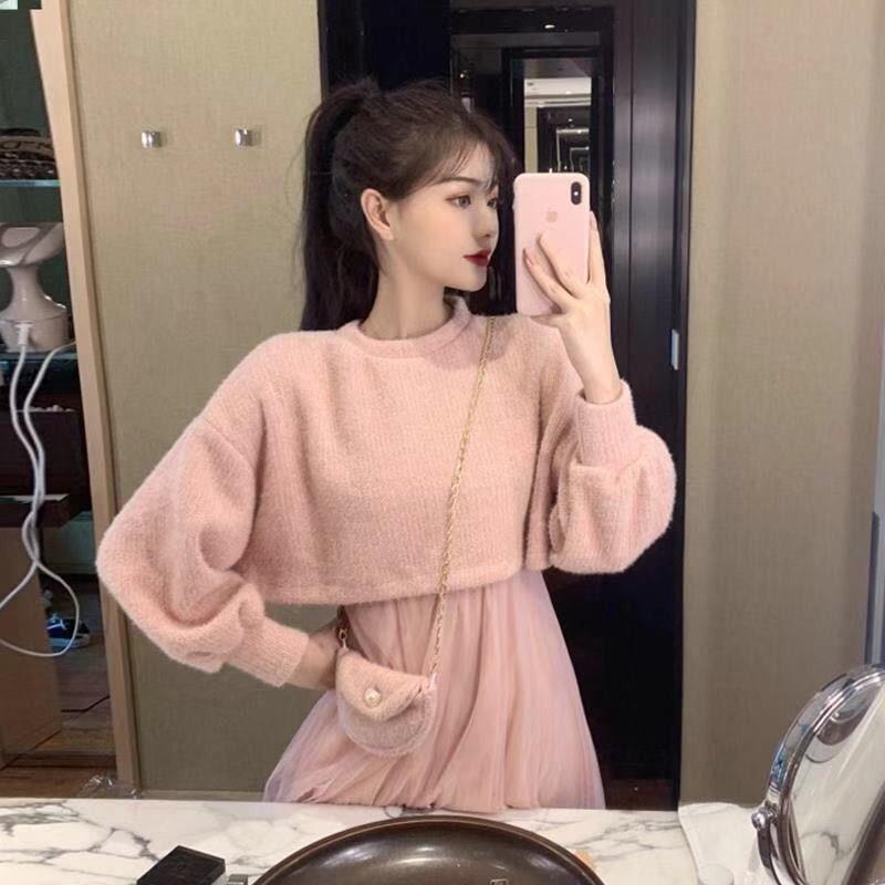Women's Korean Version Of 2020 Popular Fashion Suit Net Yarn Sling Skirt Two-piece Set