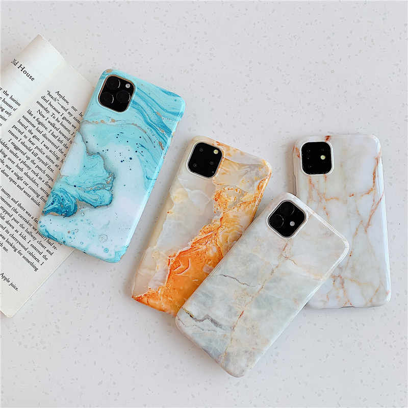 حافظة هاتف من الرخام بلون برتقالي مشرق سماوي أزرق 12 برو ماكس الغطاء الخلفي لمدة 12mini X Xr Xs Max 6s 6 7 8 Plus 2020 Iphone 12pro 11 2020se مصدات هواتف Aliexpress