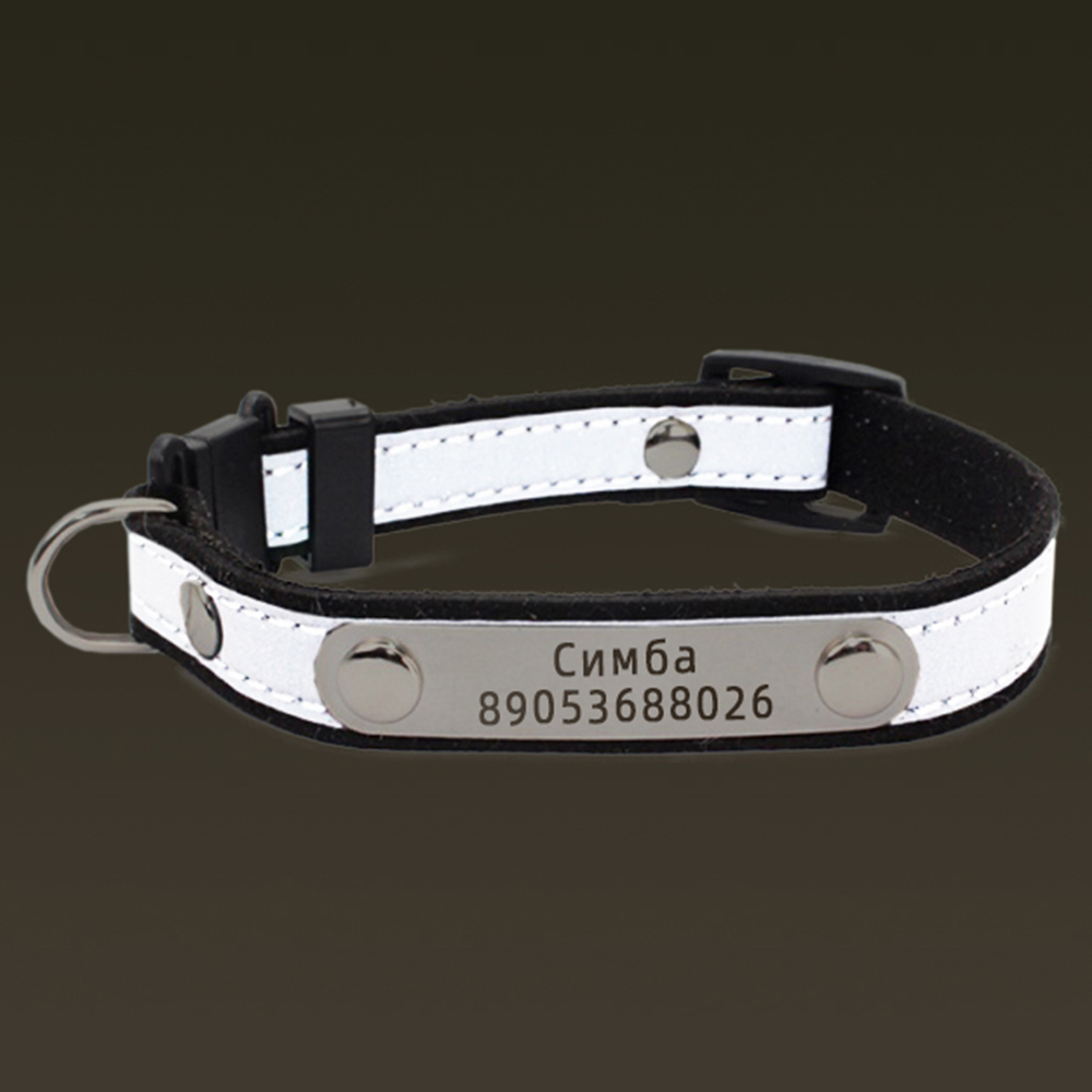 Personalized Cat Lettering Collar Reflective Pet Collars With Engraved Name Phone Number ID Tag For Small Dogs Kitty Neckband image