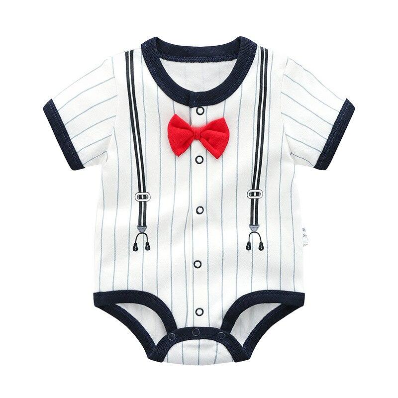 Pure Cotton Men And Women Crawling Clothes Infant Summer Newborns British Style Onesie Triangular Baby Thin Non-Romper Universal