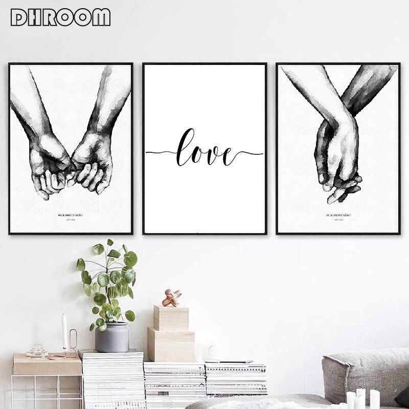 Cuadro con citas para decoración para sala de estar con estampado de cartel minimalista en lienzo con arte de pared de amor dulce de estilo Blanco y Negro Nórdico