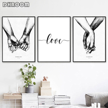 Nordic Back White Style Sweet Love Wall Art Canvas Poster Minimalist Print LOVE Quotes Painting Picture for Living Room Decor цена