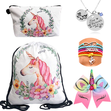 5pcs/set Unicorn party Gifts For Kids Birthdays Drawstring Backpack Kit Christmas Goodies/Presents Unicorn Party Favor for Girls goodies