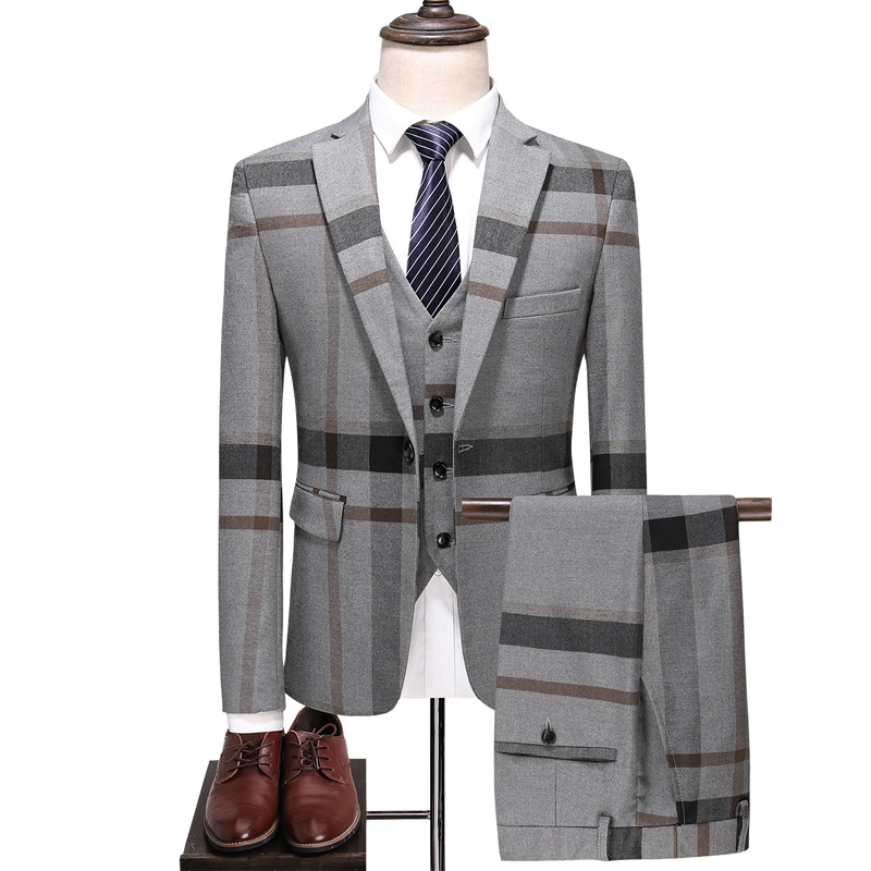 Men's Plaid Suit Blue Gray Men's Tuxedo 2020 Slim Men's Business Tuxedo Wedding Dress Men Classic Suit Formal Jacket Pants Vest