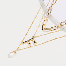 купить 2019 Statement Multilayer Letter Pendant Necklace Charm Gold Necklace bread beads Chain Necklace Jewelry  for Women онлайн