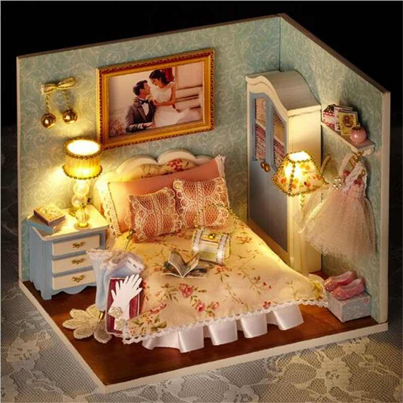 4 styles Assemble DIY Wooden House Toy Wooden Doll Houses Miniature Dollhouse toys With Furniture LED Lights Birthday gifts