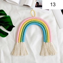 Nordic Braided Rainbow Ornament Handmade Knitted Wall Decoration with Tassel Macrame Hanging Art Kids Gift Room