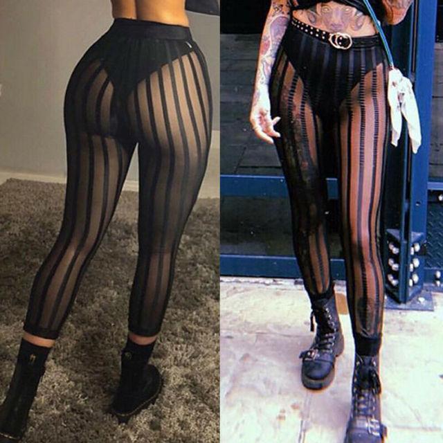 Hot Sexy Mesh Striped Leggings Women Striped Mesh Perspective Pants Knee Length Slim Trousers Club Wear 6