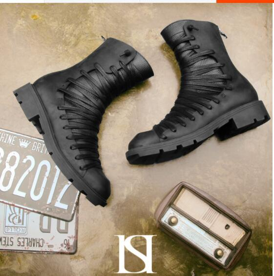 Autumn Winter Men's Retro Half Boots Genuine Leather Black Zip Lace Thick Bottom Boots Fashion High-top Martin Boots Wholesale