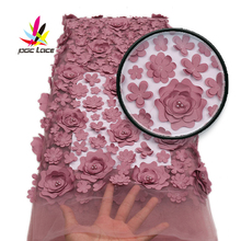 African Tulle Fabric 3d 2019 Latest Heavy French Rose Flower Nigerian Wedding Beaded Mesh Net Flowers Lace Fabric AMY1719B 2
