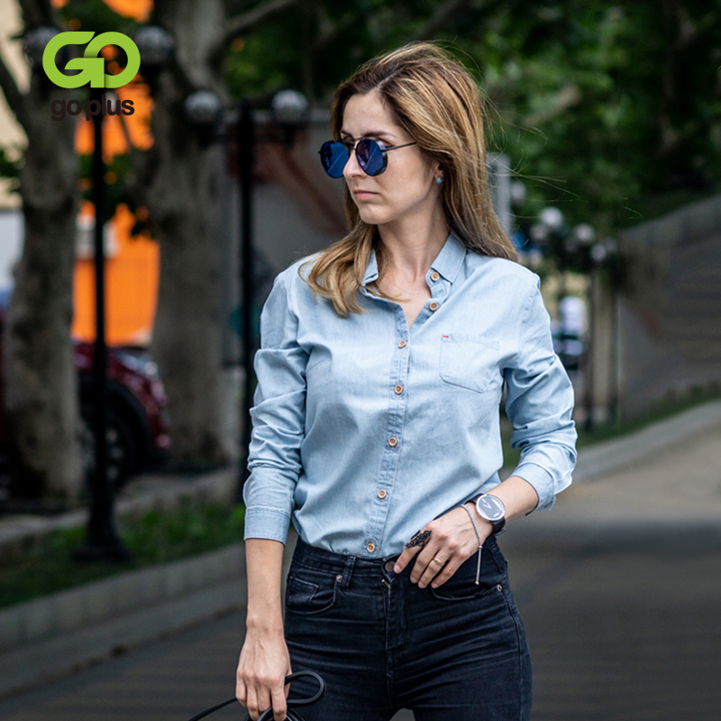 GOPLUS Women's Shirt Blue Blouse Clothing For Women Tops 2020 Turn Down Collar Denim Blouses Cotton Shirts Haut Chemise Femme