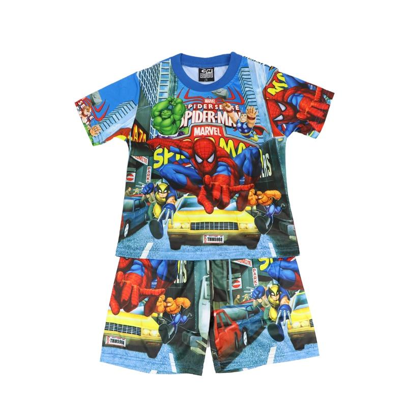 Disney 2021 Boy Sets Short Sleeve Cartoon Spiderman Kids Clothes Summer Children's Clothing Shorts Pajamas Outfits Super Hero