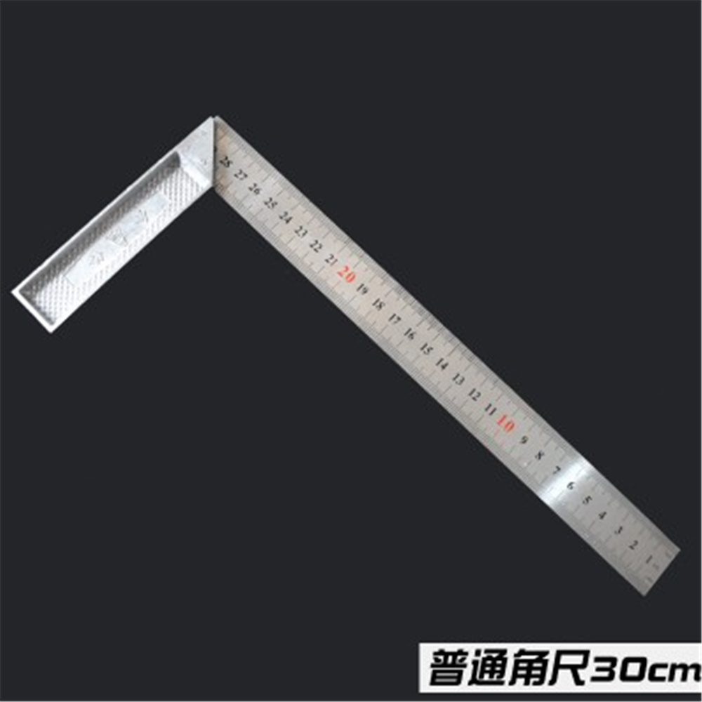 30cm Long Stainless Steel L Square Angle Square Ruler Silver Tone