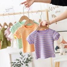 T-Shirt VIDMID Babys Stripe Children's Short-Sleeve Pure-Cotton P32 Treasure Upper Breathable