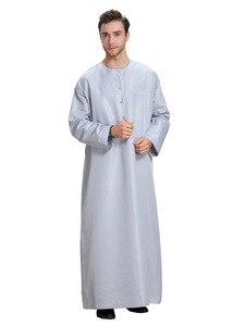 Image 3 - Uomini musulmani Jubba Thobe Kimono Lungo Abito Caftano Solido Arabia Musulman Usura Abaya Caftano Islam Dubai Arabo Vestito di Abbigliamento Islamico