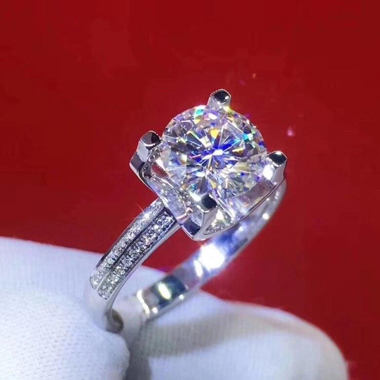 Bague Moissanite Simple pour bureau femme D couleur VVS1 Moissanite bague en argent 925 bijoux de pierres précieuses en argent