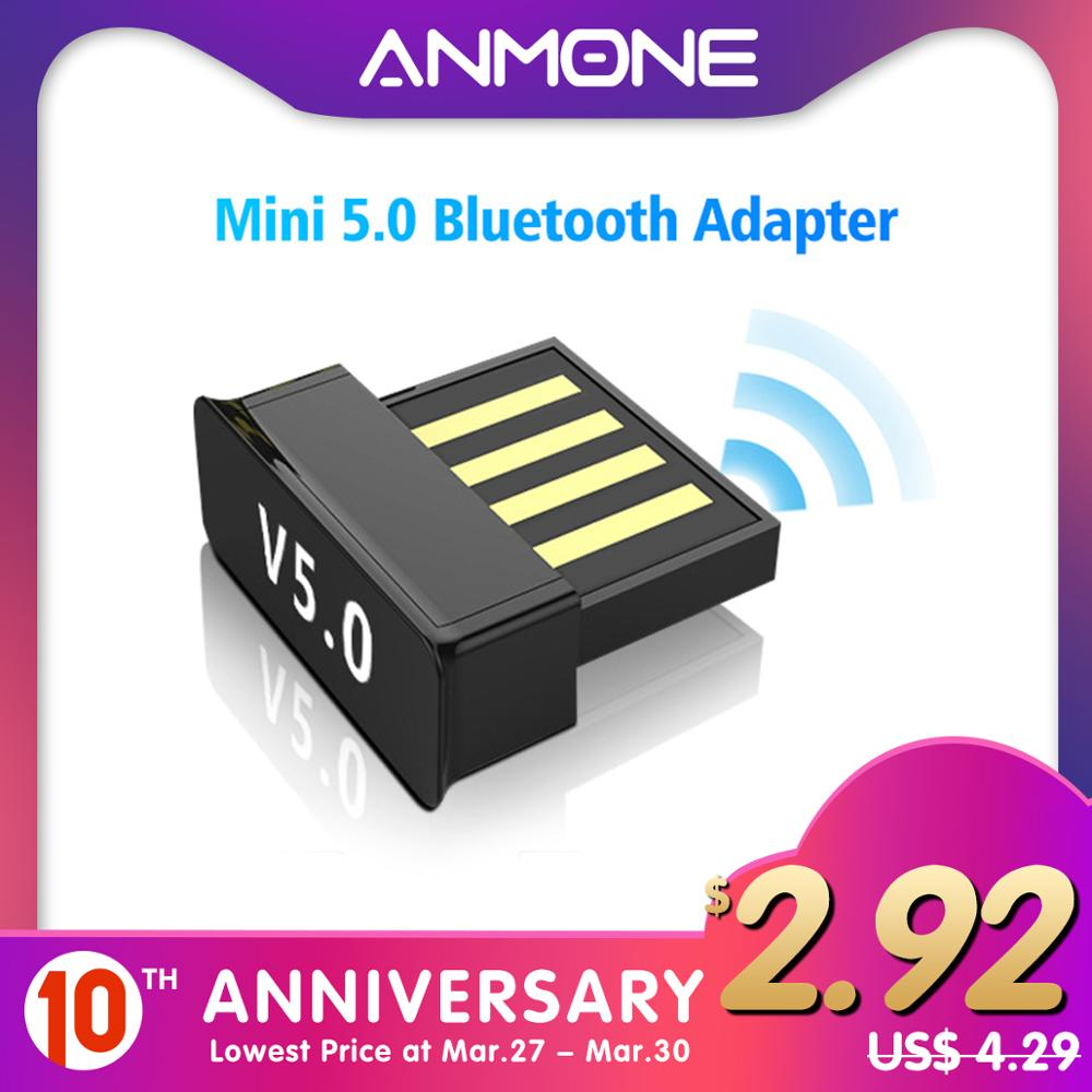 ANMONE Mini Wireless <font><b>Bluetooth</b></font> Dongle <font><b>5.0</b></font> USB <font><b>Bluetooth</b></font> <font><b>Adapter</b></font> <font><b>PC</b></font> Tablet Music Receiver Headset Keyboard Wireless Connector image