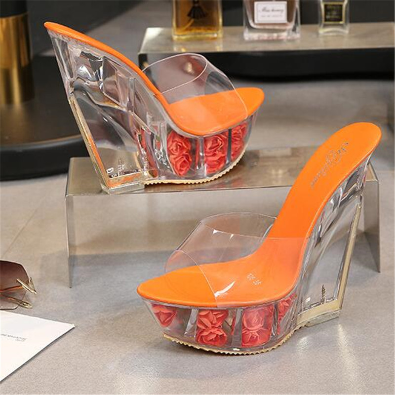 <font><b>Women</b></font> <font><b>Shoes</b></font> <font><b>Sexy</b></font> <font><b>High</b></font> <font><b>Heel</b></font> <font><b>Slippers</b></font> Summer Transparent Crystal Model Catwalk Wedding <font><b>Shoe</b></font> <font><b>High</b></font>-heeled 15cm <font><b>Wedges</b></font> <font><b>shoes</b></font> Eu 34-40 image