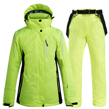 -30°C green colors Women Men Snow Ski Suit Snowboard Clothing Winter Waterproof Windproof Warm Skiing Jacket + Snow bibs Pant gsou snow brand ski jacket men snowboard jacket waterproof fur hooded outdoor skiing suit windproof sport clothing winter coat