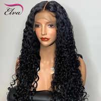 Pelucas de cabello humano prearrancado para mujeres negras, 13x6 nudos blanqueados, pelucas con minimechones rizados, 360 de encaje Frontal, Elva