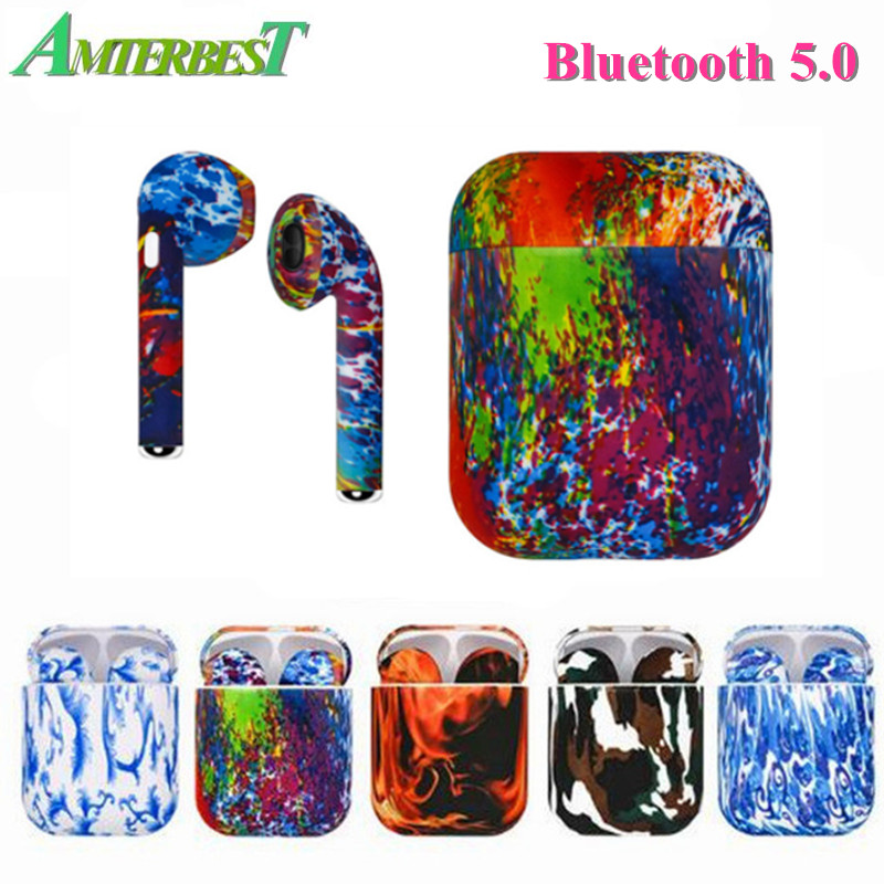 AMTERBEST I9S Custom Product Coloured Drawing Bluetooth Earbuds Twins Bluetooth Stereo Headset Earphone for Bluetooth Device