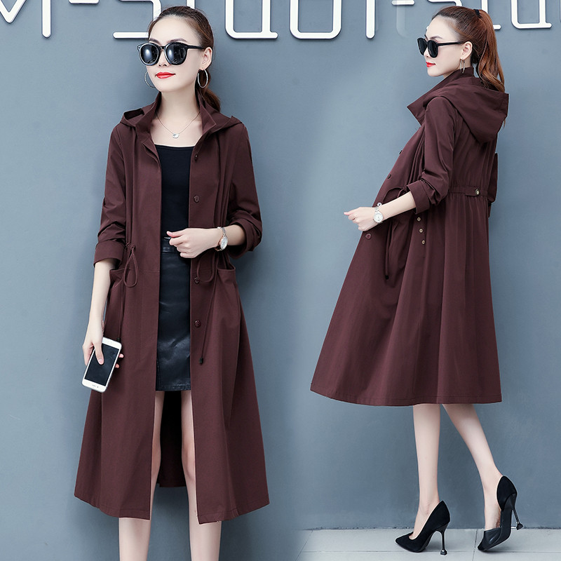 2019 Spring Autumn Classic Long Trench Coat Women Casual Thin Long Sleeve Windbreaker Female Korean Hooded Overcoat Outwear 1180