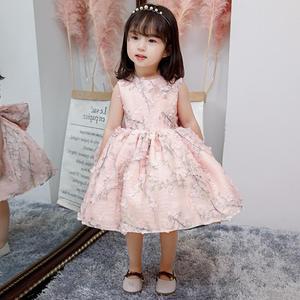 Nuevo vestido sin mangas para bebé niña flor Rosa niños cumpleaños bautizo vestido de noche vestido de princesa para niña bautismo Y3158