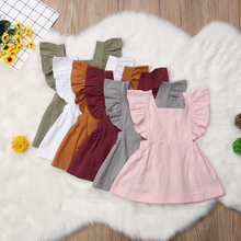 Girl Dress Summer Casual Cute Infant Kids Baby Girl Summer Solid Color Ruffle Princess Party Dress Clothes summer casual fashion baby girl cute sleeveless stripe suspender ruffle princess dress kids 1 5y baby girl dress