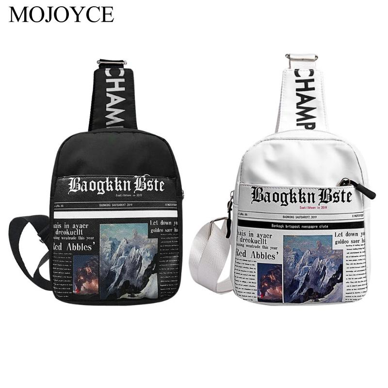 New Fashion Newspaper Print Women Fanny Chest Pack Zip Shoulder Crossbody Bag Smartphone Chest Bag Leisure Shopping Messenger
