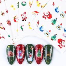 44 Pcs Kerst Nail Sliders Santa Bell Elanden Sneeuwpop Kat Xmas Tree Nail Water Transfer Sticker Nieuwe Jaar Decals Manicure JINJ004