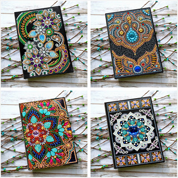 Shirliben 5d Diy Diamond Painting Notebook Diary Book Butterfly Peacock Unicorn Mandala Diamond Mosaic Round Special Diamond