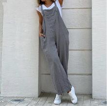Suspender Solid Long Women Jumpsuit Casual High Waist Cotton Linen Women Jumpsuits Pocket Straight Button Jumpsuits Loose 3XL