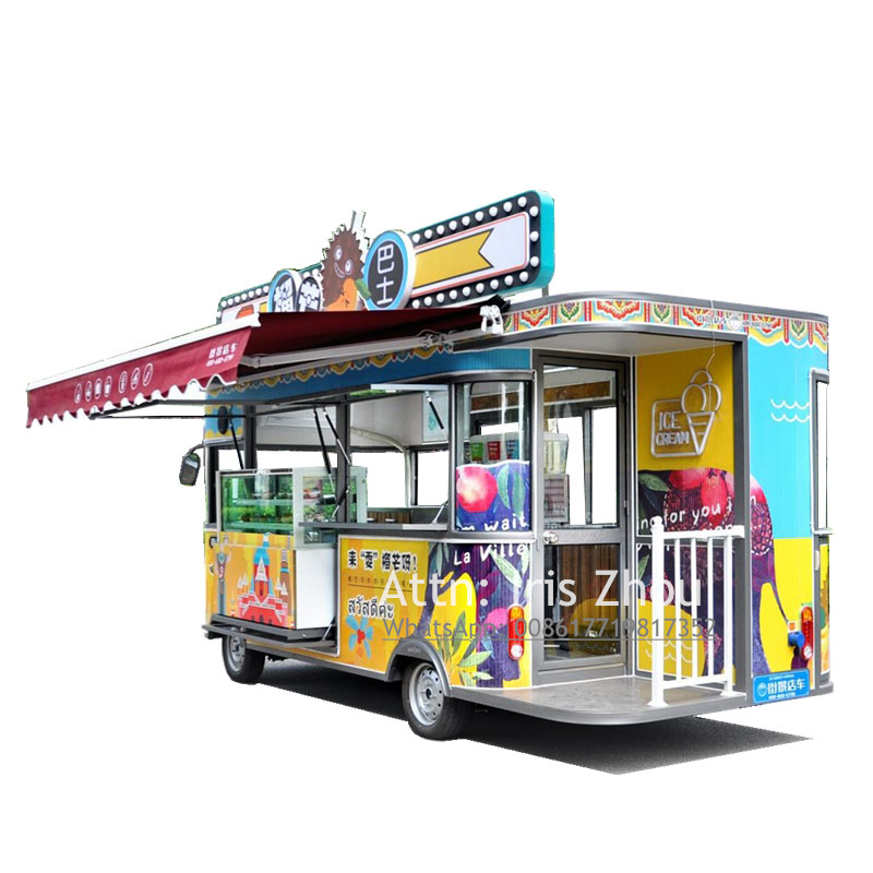 Electric ice cream driving cart, food juice selling vending truck food vehicle, juice food cart for sale