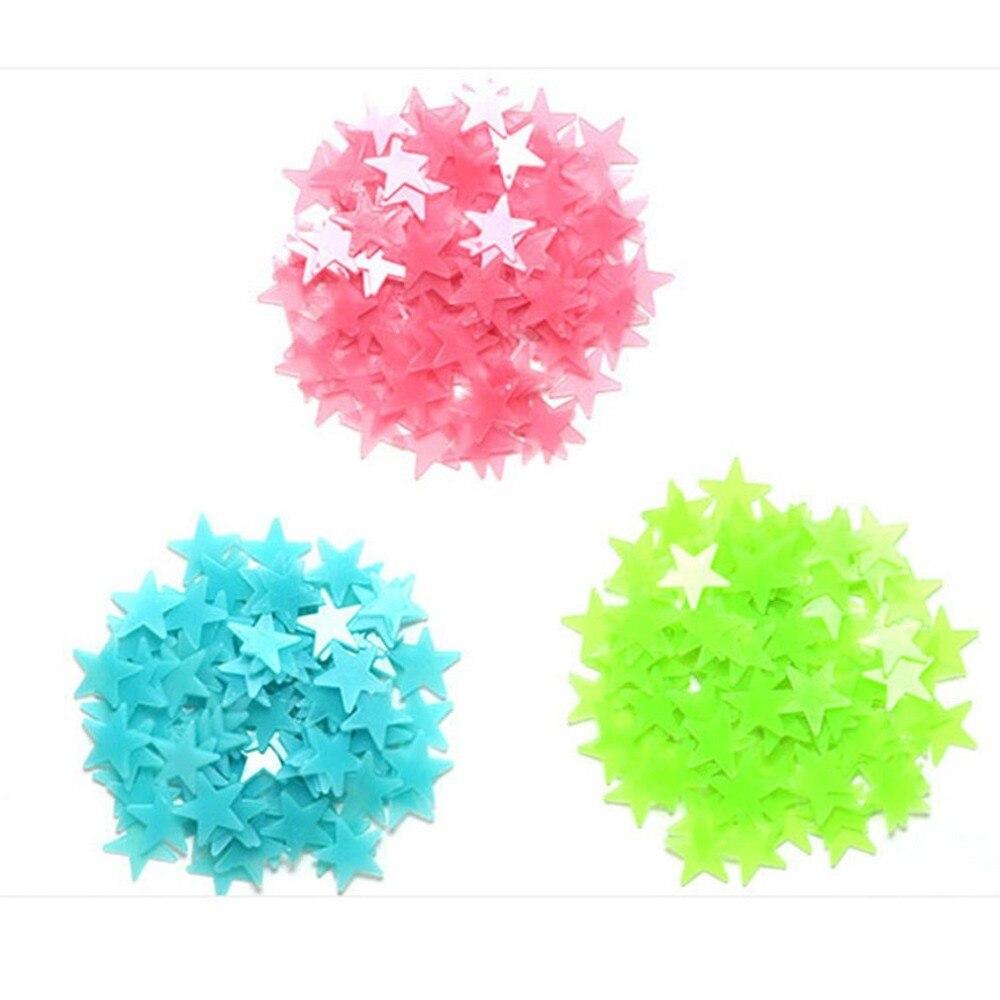 150X100 шт/мешок 3D звезды светящиеся наклейки на стену светящиеся флуоресцентные наклейки на стены для детей Детская комната Спальня Наклейки ... - 3