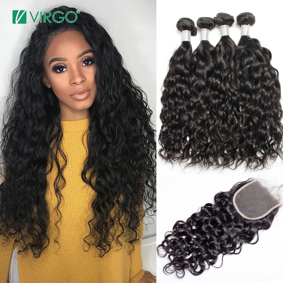 Peruvian Water Wave Bundles With Closure Human Hair Bundles With Closure Virgo Human Hair Remy Weave 4 PCS/Lot