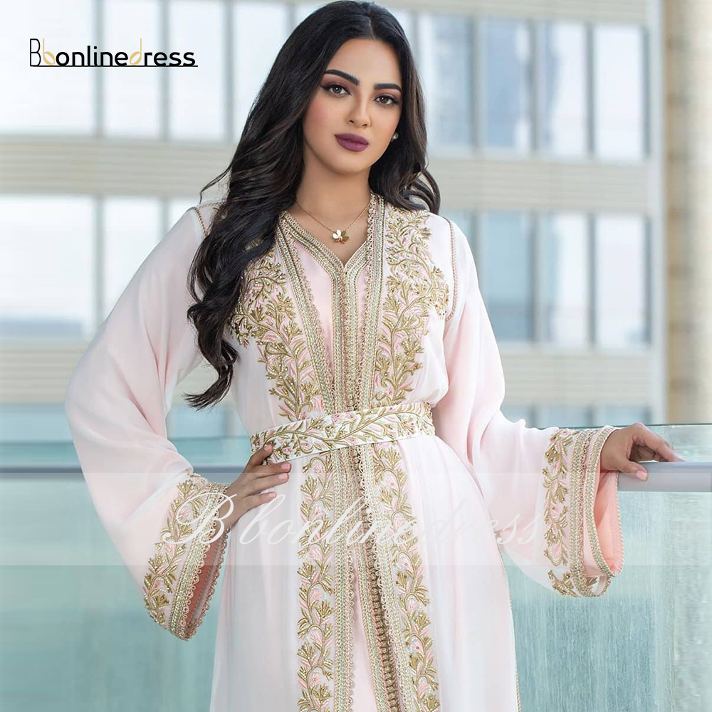 Bbonlinedress Moroccan Caftan Evening Dresses Emboridery Appliques Muslim Evening Dress Full Sleeve Arabic Kafutan Party-Dress