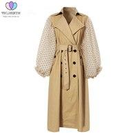 Spring Autumn Patchwork Polka Dot Lantern Sleeve Trench Coat Female New High Waist Lace Up Women's Windbreaker Fashion