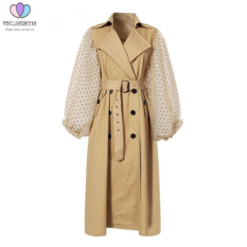 Spring Autumn Patchwork Polka Dot Lantern Sleeve   Trench   Coat Female New High Waist Lace Up Women's Windbreaker Fashion