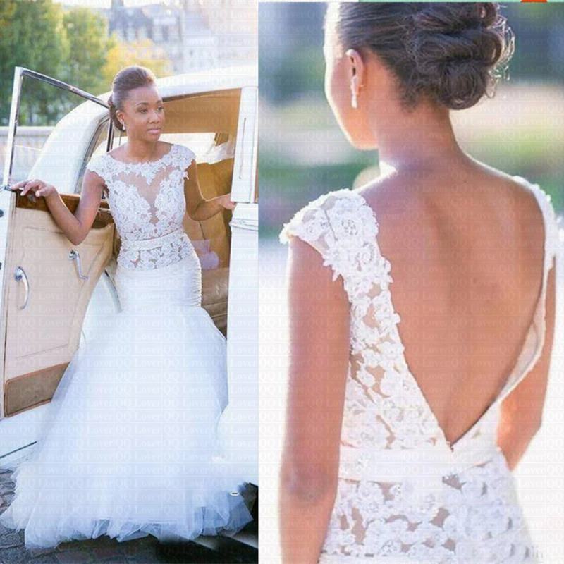 New Backless African Mermaid Wedding Dresses 2020 Custom-made Plus Size Wedding Gowns