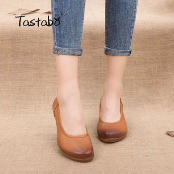 Tastabo manual Genuine Leather Women's shoes with heels Simple style 1013 Multi-color selection Asakuchi low-top shoes Mom shoes