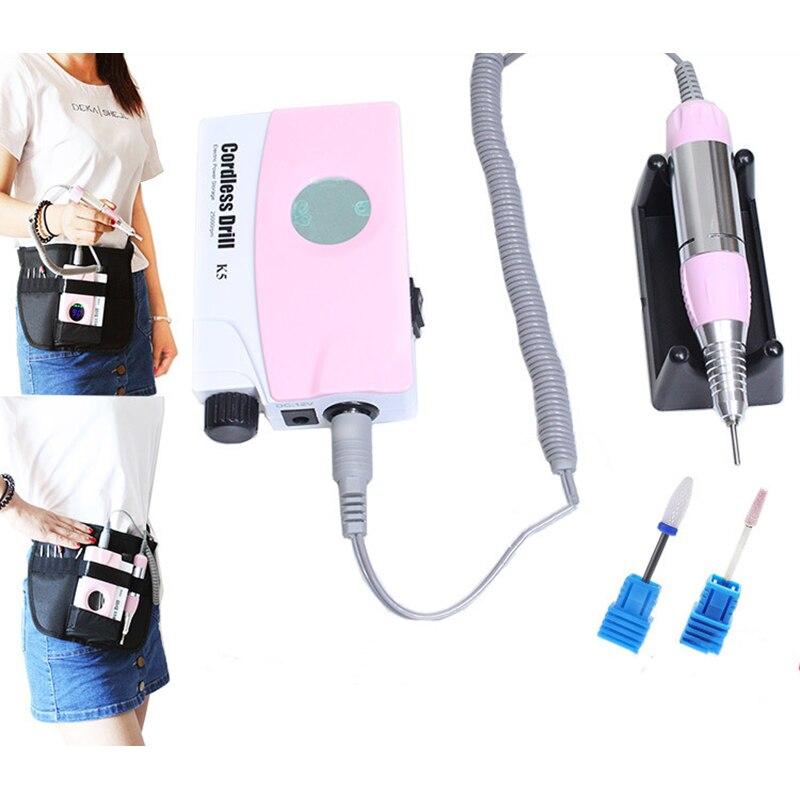 Розовый перезаряжаемый Электрический полировальный станок для ногтей, маникюрные сверла, пилочка для ногтей, набор для педикюра с ЖК дисплеем - 4